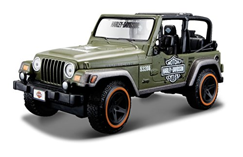 Maisto Jeep Wrangler Rubicon: Originalgetreues Modellauto 1:24, Türen und Motorhaube zum Öffnen, Fertigmodell, 14 cm, grün (532190) - Modell Rubicon Jeep Wrangler