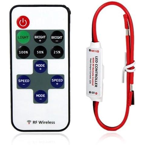 niceEshop (TM) DC 5~ 24V 12A Mini LED Controller Dimmer con telecomando RF Wireless per singolo colore Striscia di Luce