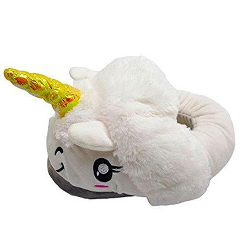 Kenmont Einhorn Plüsch Pantoffeln Unicorn Hausschuhe Spielzeug Tier Pantoffel Schuhe für Erwachsene|Weihnachtsgeschenk|Geschenke Weiß