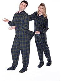 Azul marino y verde Blackwatch Plaid franela de algodón adulto Footed Pajamas W/drop-Seat