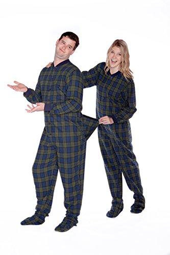 n Karierter Baumwollflanell Erwachsene Onesie Fußpyjamas mit Butt Flap hinteren Klappe für Männer & Frauen (Erwachsene Disney Onesies)