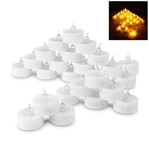 LED Tee Kerzen, realistisch, batteriebetrieben, Fake Kerzen, 24Stück (Warm Weiß) (Fake-tee-kerzen)
