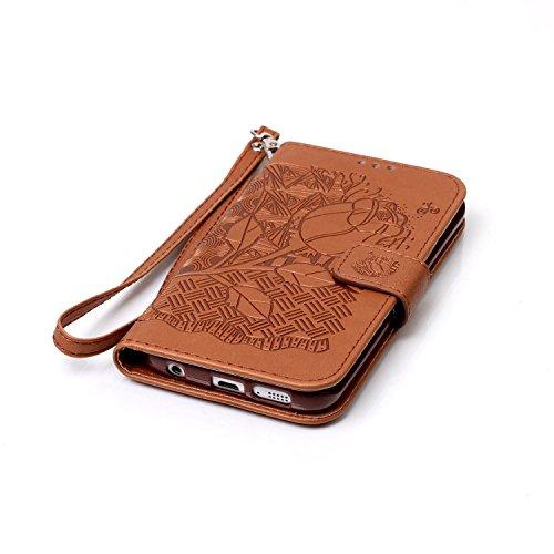 iPhone 7 Hülle , Camiter Rosa Dreamcatcher entwerfen Leder pu Wallet Case Schutzhülle Standfunktion Handytasche Hülle für Apple iPhone 7 + Freies Reinigungstuch Rose Blume braun