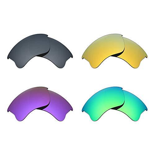 MRY 4Paar Polarisierte Ersatz-Gläser für Oakley Flak Jacket XLJ sunglasses-black Iridium/24K Gold/Plasma violett/Smaragd Grün