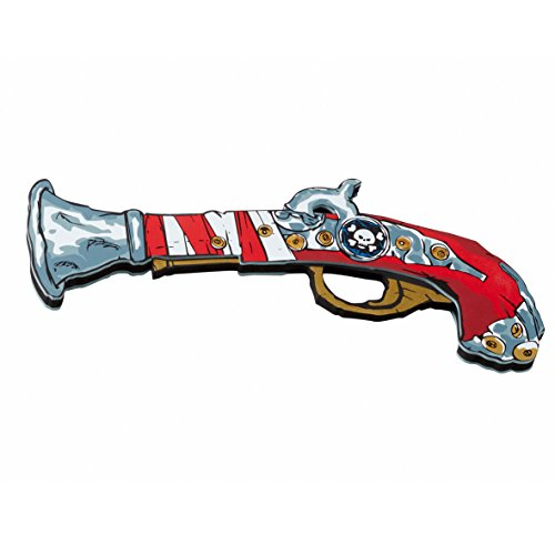Bestsaller - Pistola di Pirata Rosso Stripe, 28,5 X 13Cm