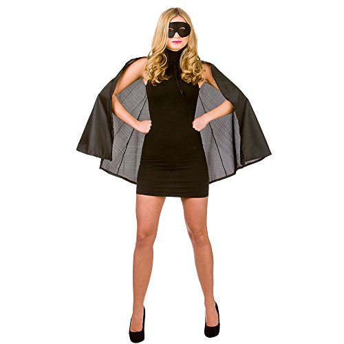 Super Hero Cape with mask Black Superheor Costume Heroine Super Woman (Erwachsenen Super Hero Cape)
