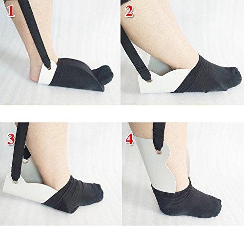 MEYLEE Flexible Socken-Hilfe, Anziehhilfe Für Ältere, Behinderte Und Behinderte Socken Und Strümpfe (1 Paket, Flexibel),White