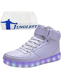 (Presente:peque?a toalla)Blanco EU 40, JUNGLEST? LED Light de Top Negro Blanco Mujeres colores 7 Zapatillas High