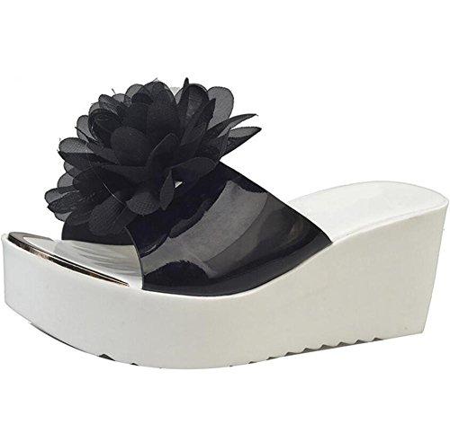 LDMB Damen süße Blumen Peep Toe rutschfeste Wedges Sandalen Sommer Frauen Innen-oder Outdoor-Hausschuhe Black