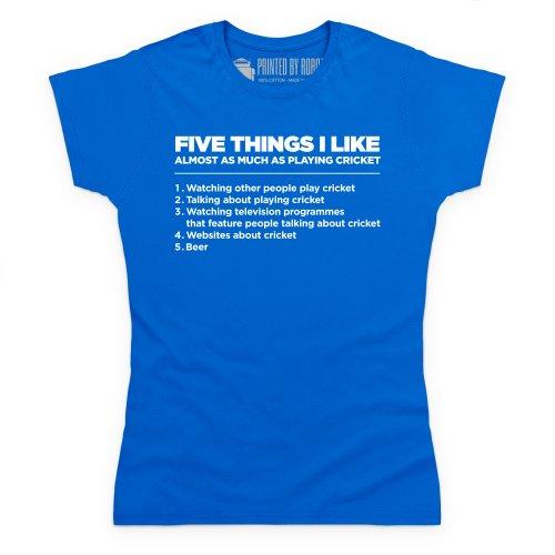 Five Things I Like - Cricket T-Shirt, Damen Royalblau
