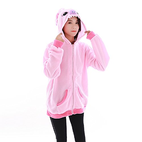 Lazutom Anima Hoodie Vestes Sweat à Capuche Jacket Animaux Cartoon Cosplay Zip Up Hoodie Outerwear Jacket (Pink Stitch, S)