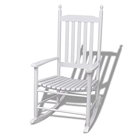 vidaXL Wood Rocking Chair White Curved Seat