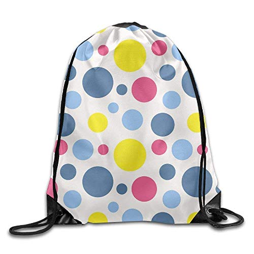 Needyo Rucksack mit Kordelzug Polka Dot Pattern In Retro Style Drawstring Backpack Bag Sackpack Cinch Tote Sports String Backpack Gym Bags for Gym or Traveling - Polka Dot Cinch
