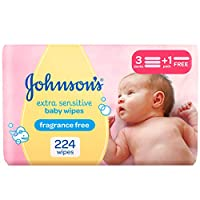 JOHNSON'S Baby, Wipes, Extra Sensitive, 3+1, Pack of 224 wipes