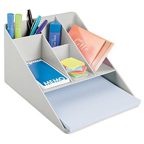 mDesign Organizer a scomparti per scrivania – Comodo contenitore per documenti e articoli di cancelleria – Pratico organizer in plastica con 5 scomparti piccoli e 1 grande – grigio chiaro