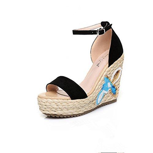d14a0c5b63f72b BaiLing Damen Sommer Sandalen   Wedge Ferse handgefertigte gestrickte Stroh  wasserdicht   Stickerei kleine Größe Schuhe