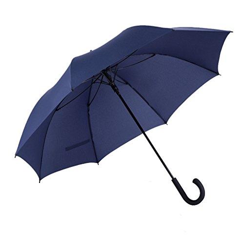 Paraguas abierto de golf automático con mango largo Dos personas extra grande Protección contra el viento a prueba de viento Paraguas al aire libre Paraguas con forma de gancho ( Color : Azul )