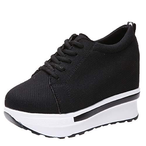 Zapatos Mujer,Moda Mujer Casual Encaje Zapatillas Lona Alto-Top Gruesos Zapatos Deportivos de Fondo Sneakers Plataforma Mujer Zapatos Comodos-La Mejor Opción para la Vida Cotidiana (38 EU, A)