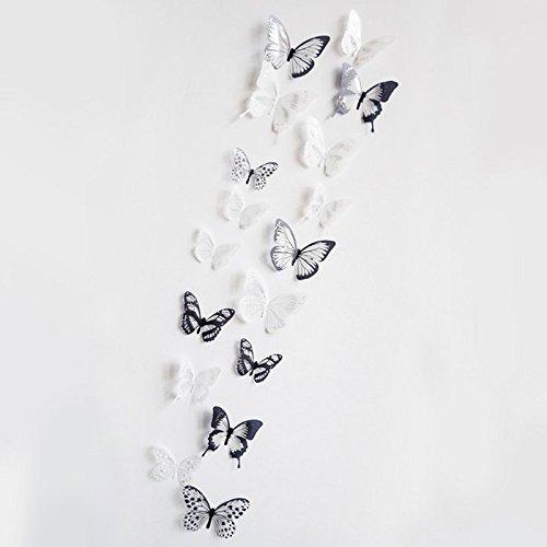 3D Schmetterling Dekor Wandaufkleber Zuhause Deko Wandtattoos groß babyzimmer jungenzimmer köln Loch pirateninsel Skull Tiger weiße riesiger Sternenhimmel ()
