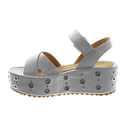 Angkorly Scarpe Moda Sandali Mules con Cinturino Alla Caviglia Zeppe Donna Borchiati Perforato Tanga Tacco Zeppa Piattaforma 6 cm Bianco