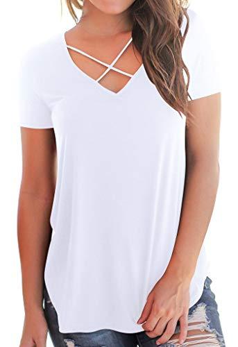 Kurzarm Sweatshirt Oberteile Sommer Tragen T-Shirt mit V-Ausschnitt Weiß L -