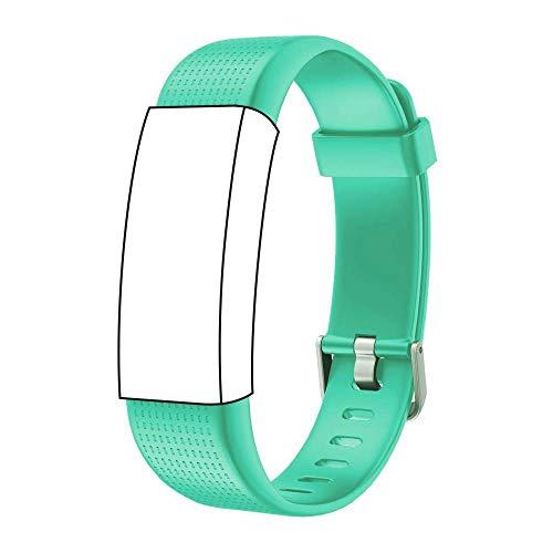 endubro Ersatzarmband für Fitness Tracker ID130 Plus Color HR & viele weitere Modelle aus TPU Skin-Friendly mit antiallergischem Verschluss (Schwarz) (Grün)