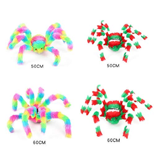 BangShou Plush Hairy Spiders Fake Giant Black Multicolor Pranks Spider Poseable Lifelike Decor Toys for Halloween Parties Haunted House Decorations Props (viele Farben 2) (Spider Fake Giant)