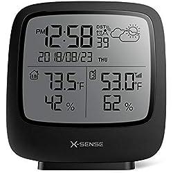 X-Sense Station météo sans Fil d'Une portée de 150 mètres, Grand écran LCD rétroéclairé, Horloge Atomique, indicateur précis de la température et de l'humidité, prévisions météorologiques