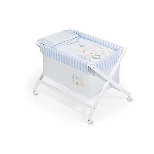 Minicuna Blanca Modelo Conejito Baby Azul Azul