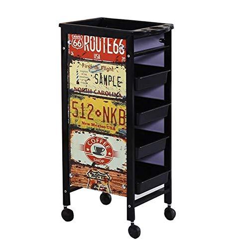 WQCART Metall Retro Professionelle Friseur Trolley Salon Friseur Schönheit Lagerung Haar Schubladen Roller Cart Spa,RetropatternB