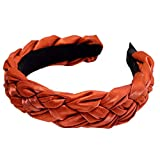 MIRRAY Haarband Damen Breit Stirnband Pure Color Hairband Fliege Samt Wide Brimm Schminken Headwrap Orange