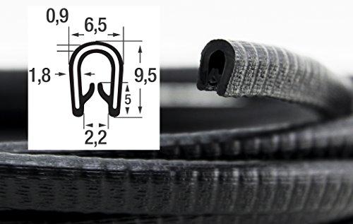 KS1-2S-POM Kantenschutzprofil von SMI-Kantenschutzprofi aus PVC Gummi - Klemmprofil mit POM Kunststoffeinlage - NICHT ROSTEND - Schwarz - selbstklemmend ohne Kleber, Klemmbereich 1-2 mm (5 m)