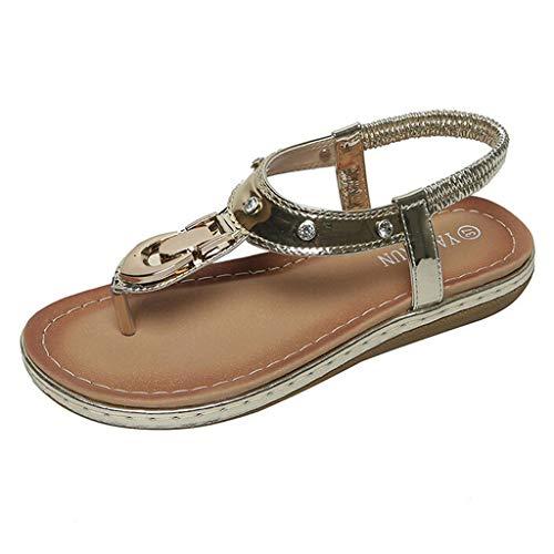LILIGOD Damen Sandalen Outdoor-Schuhe Sommer Flache Schuhe Bequeme Rutschfeste Schuhe Freizeit Mode Flipflop Einfache Elegant Sandalen Strandschuhe Pailletten Spitze ()