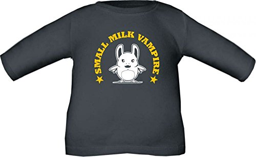 Baby / Kinder T-Shirt langarm Small milk vampire / Größe 60 - 152 in 6 Farben Schwarz