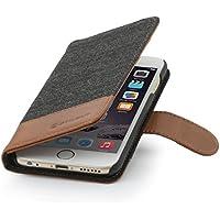 """StilGut Talis Fashion-Serie, Hülle mit Kreditkartenfach für iPhone 6 Plus & iPhone 6s Plus (5.5""""), Fischgrät/cognac"""