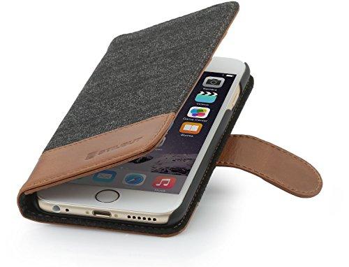 StilGut Leder-Hülle kompatibel mit iPhone 6s Plus Wallet-Case, Fashion: Fischgrät/Cognac
