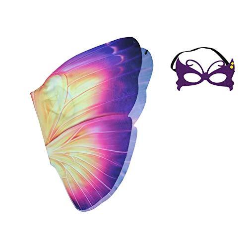 Mädchen Fee Kostüme mit Flügel, Schmetterlings-Chiffon-Flügel-Umhang Und Maske Der Kinder Für Tragbare Leichte Kinder