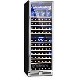 Klarstein Vinovilla Grande Duo - Cave à vin de grande capacité, Vol 425 L, 165 bouteilles, 12 étagères, Éclairage LED, Porte-verre, 2 zones de refroidissement, Température ajustable, Noir