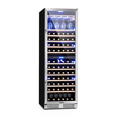 Klarstein Vinovilla Grande Duo • Weinkühlschrank • Getränkekühlschrank • 425 L • 165 Weinflaschen • 12 Holzeinschübe • Touch • LED-Beleuchtung • Weinglashalterung • 2 Kühlzonen • schwarz