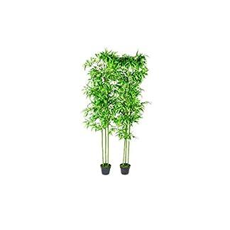 vidaXL 2x Plantas Artificiales Bambú con Cañas Reales 190 cm Maceta Plástico
