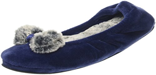 Dearfoams Damen Velour Ballerina W/Frosted Pile Sneaker Blau (Peacoat)