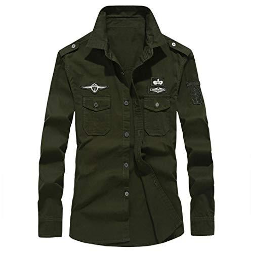 MRULIC Herren Herbst Militär Slim Button Langarm Stehkragen Shirt Top(Armeegrün,EU-56/CN-5XL)