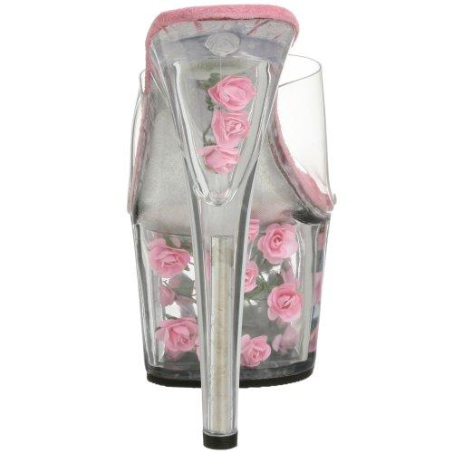 Pleaser  ADORE-701FL, Sandales Bout ouvert femme Transparent (Clr/H. Pink Flowers)