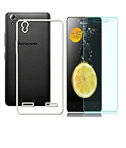 CLASSICO Crystal Clear Soft Transparent Back Cover + Tempered Glass Combo For Lenovo K3 Note