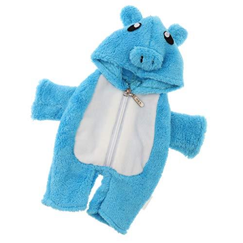 Fenteer Schöne Plüsch Ferkel Kostüm Cosplay Overall Pyjama Schlafanzug mit Kapuze Bekleidung für Mellchan Baby Doll - Blau (Ferkel Baby Kostüm)