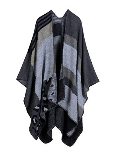 Honeystore Frau Herbst-Winter Fashion Schal Warm Umschlagtuch ärmelloser Umhang verdickte und vergrößerte 130*150CM Leopard (Van Kind Kostüm Gogh)