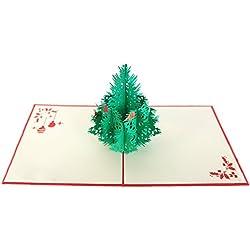 Artone Creativo 3D Surgir Feliz Navidad Árbol Regalo Tarjeta De Felicitación Rojo