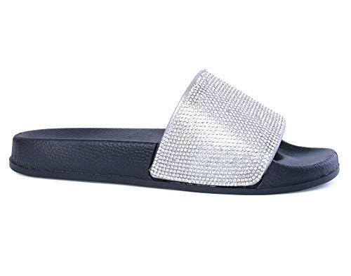 MRULIC Damen Rutschen Sandalen Sparkle Sliders Pailletten Blume Gedrückt Hausschuhe Schuhe Home Flip Flop Slipper(Schwarz,39 EU)