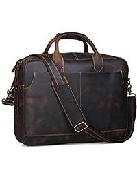 MX kingdom Gents Vintage de Piel 15,6 Ordenador portátil Bolso Hombres Gran maletín Fourre