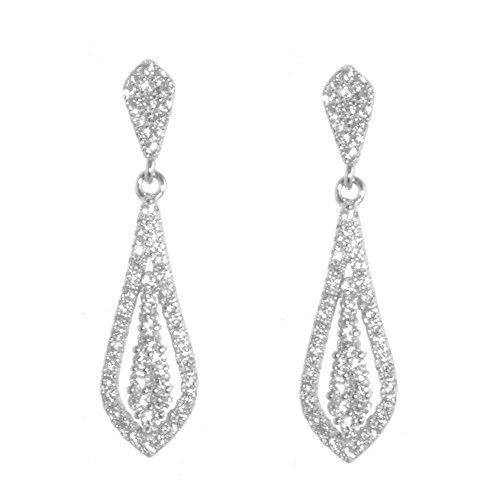 Pendientes de novia de plata joyas: figura de largo brillante Vintage Flor de cristal pendientes de gota (E91)
